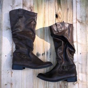 Mossimo   Tall Brown Zip Up Boots Size 9